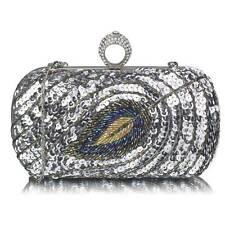 Silver Sequin Peacock Clutch Bag Ladies Evening Handbag Wedding Race Prom Party