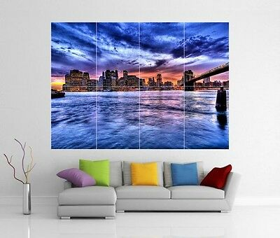 Able New York Brooklyn Bridge Riesiges Wandkunst Bild Aufdruck Poster H232 Superior Materials Art