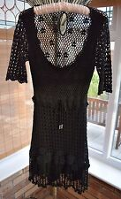 KAREN MILLEN Black Crochet Hippy Boho Dress Size 1 in VGC