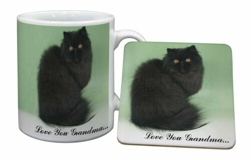 Black Persian Cat 'Love You Grandma' Mug+Coaster ChristmasBirthday, AC107LYGMC