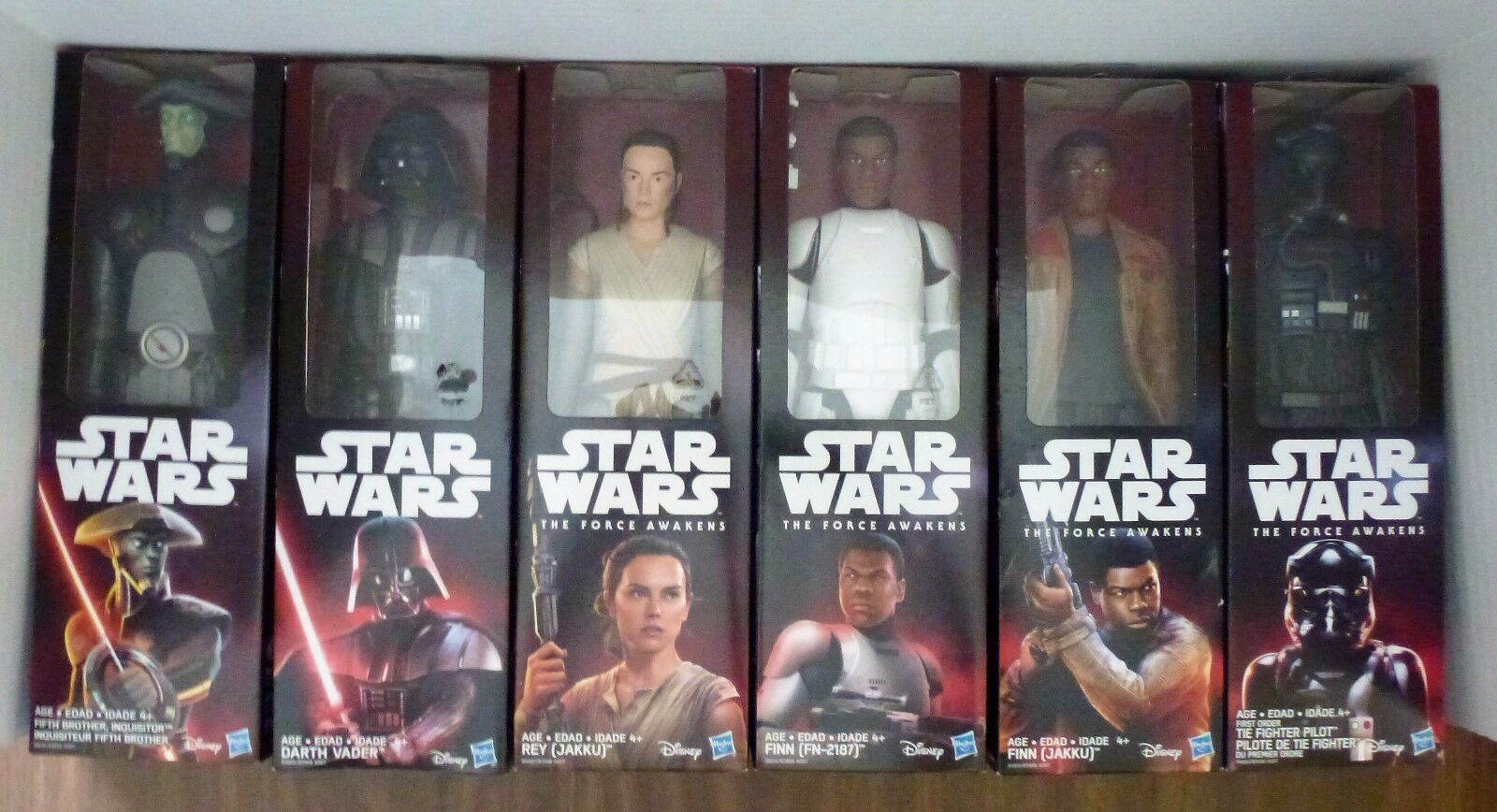 Star Wars Force Awakens 12 inch 6 Figure Set includes Rey, Vader, Finn 2 , etc