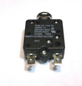CIRCUIT BREAKER 10 AMP PUSHBUTTON THERMAL RESET SWITCH W58 STYLE