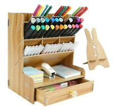 Wood Pen Desk Organizer With Drawer 12 Compartments Office Supplies Storage