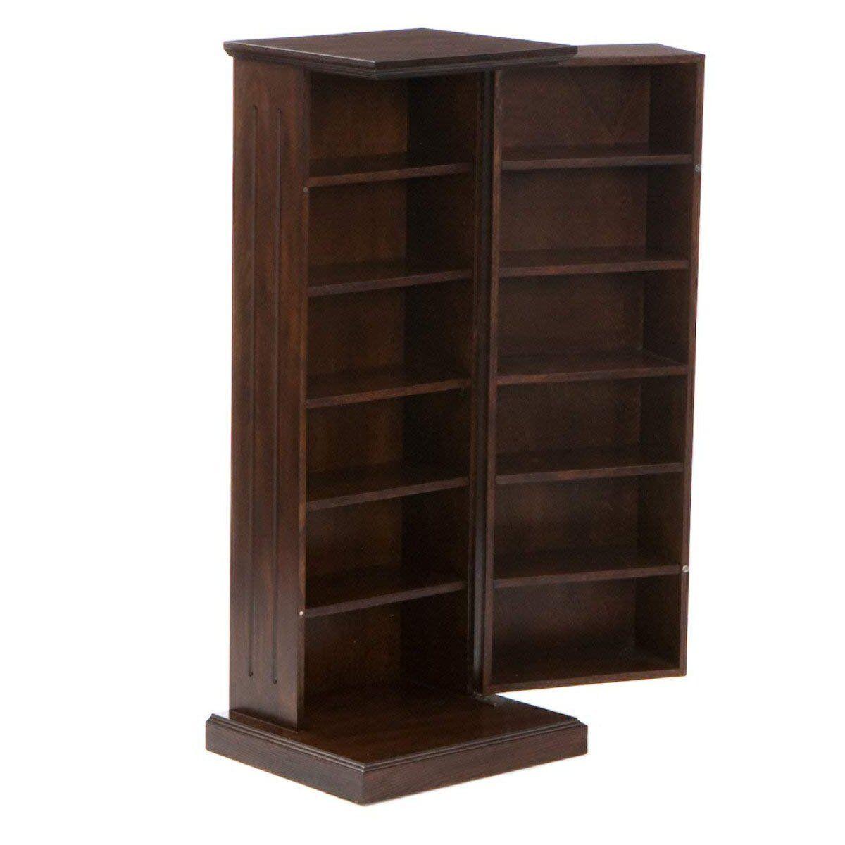 Espresso Media Storage Pedestal Cd Dvd Wood Cabinet Organizer Shelf Home Decor