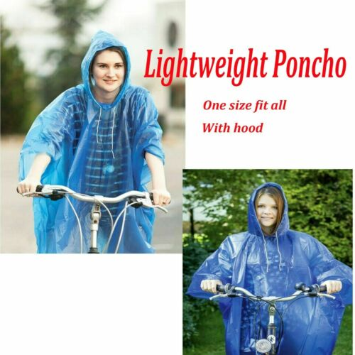 Adult Hooded Poncho Unisex WaterProof Lightweight Blue Hiking Camping Rain Cover