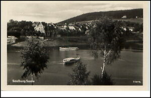 Saalburg-Saale-Thueringen-DDR-Postkarte-1954-See-Boote-Teilansicht-Baeume