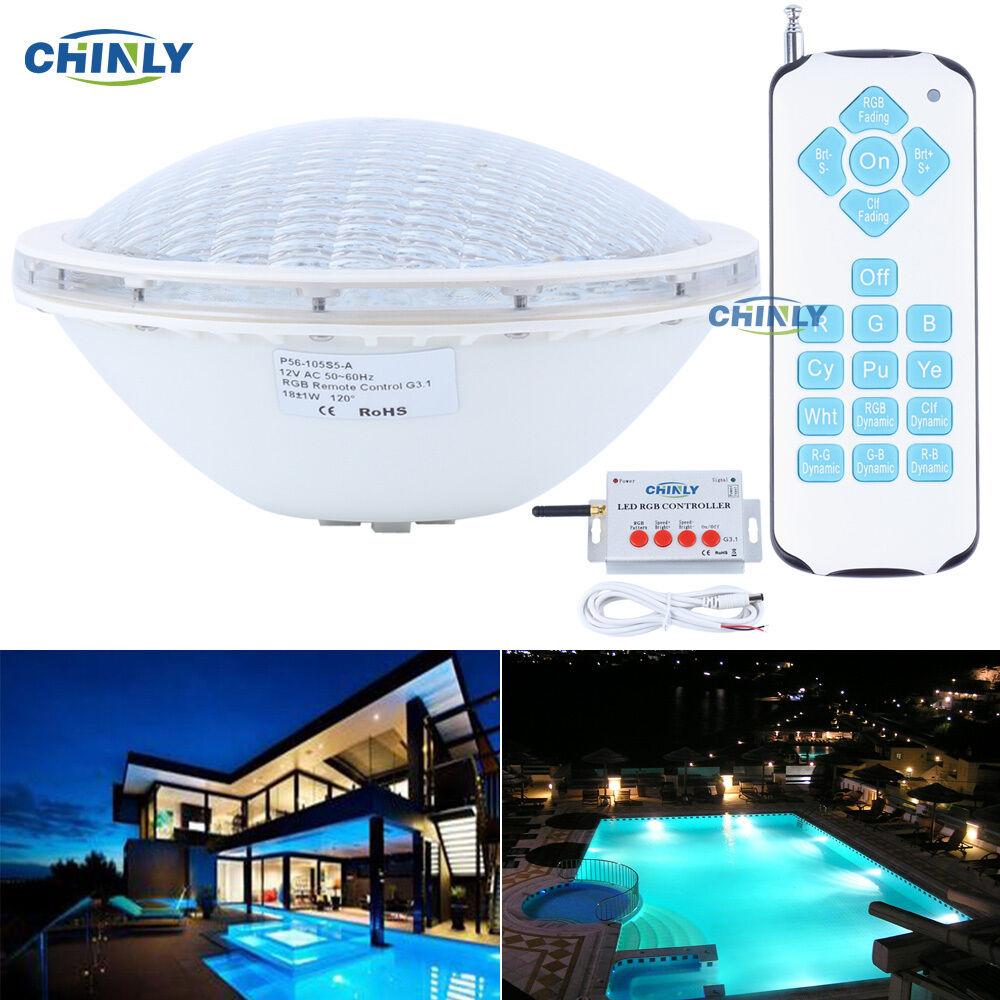 Piscina Impermeable Luz Bombilla AC12V Par56 18 W Lámpara LED RGB SMD5050 remoto de natación