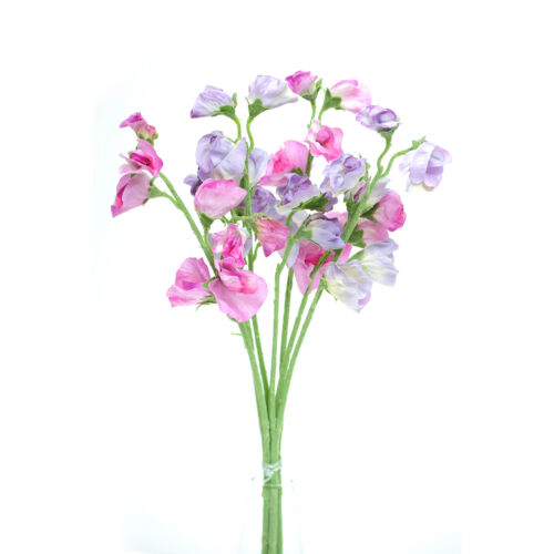 Artificial silk Sweetpea pink /& lilac stems Sweet Pea flowers 16 inches