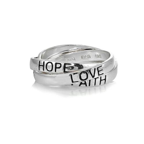 Sterling Silver HOPE FAITH LOVE Inspirational Triple Interlocking Ring