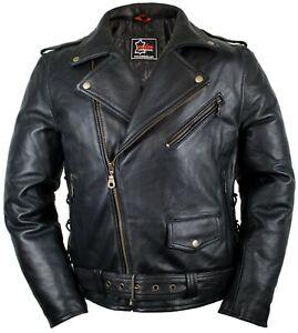 MOTO-CHOPPER-Giacca-Di-Pelle-Giacca-Giacca-Rocker-Club-Giacca-Biker-Giacca-90-s-anni
