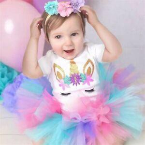 Baby Girl First 1st Birthday Outfit Tutu Skirt Dress Cake Smash Party Headband