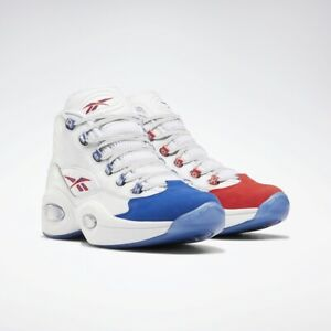 Details about Reebok Classics Question Mid White Royal Red Men Allen Iverson Sneakers FV7563
