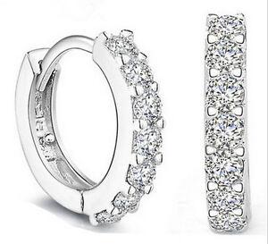 Gioielli-moda-donna-bianco-pietre-preziose-Cristallo-Silver-Orecchini-a-cerchio