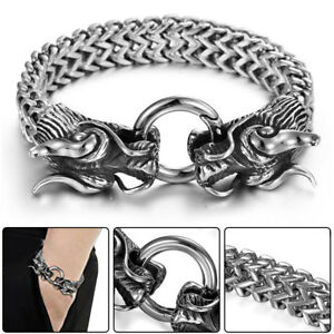 2c31b4927 Image is loading Quality-Stainless-Steel-Dragon-Head-Cuff-Bangle-masculine-