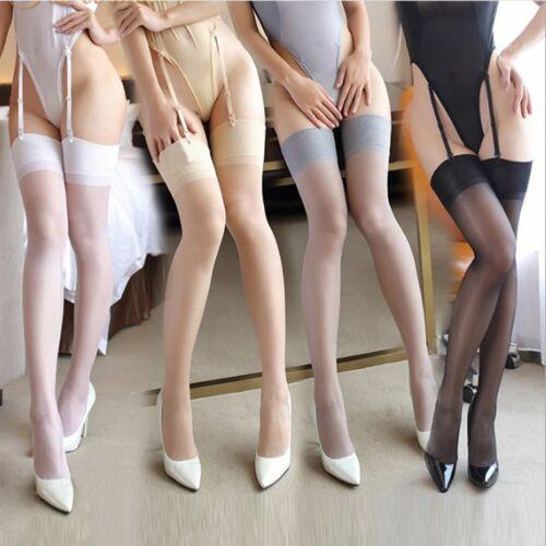 Damen Halterlose Netz Strümpfe Strapsstrümpfe Stockings Overknee Lang Socken