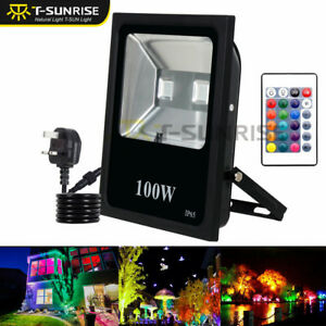 100-W-RGB-DEL-Flood-light-Spotlight-16-Color-exterieur-Lampe-de-jardin-a-distance-Plug-IP65