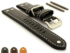 Riveted Genuine Leather Military Watch Strap Band SS Buckle 22 24 26 FIGHTER MM