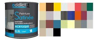 Peinture Acrylique Satin Decoration Murs Plafonds Sans Odeur Lessivable 0 5l Ebay