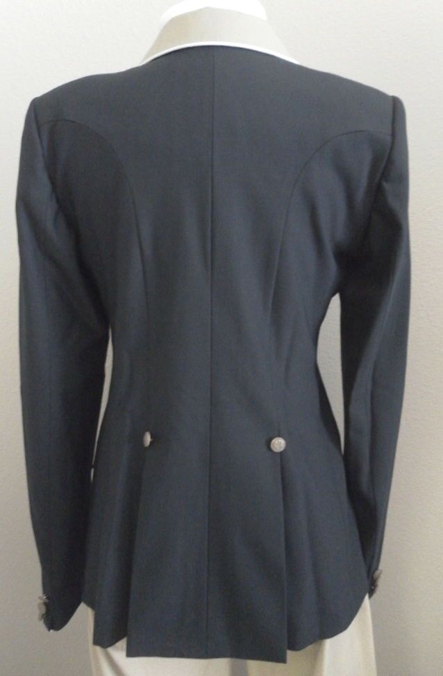 Ladie's Hunt Coat by Allon Navy w w w Tan Collar & bianca Piping Accent Dimensione 12 a061f5