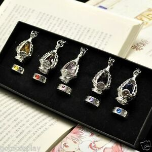 Anime-Cosplay-Puella-Magi-Madoka-Magica-Soul-Gem-5-Necklace-5-Rings-With-BOX
