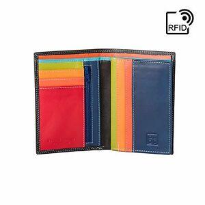DuDu-Portafoglio-uomo-Verticale-RFID-in-Pelle-Nero-Multicolore-con-lampo-interna