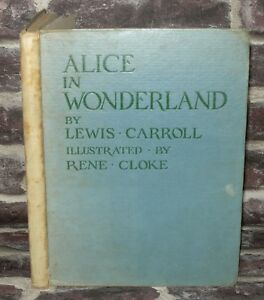 Alice-In-wonderland-BOOK-Lewis-Carroll-Illustrated-Rene-Cloke1945-Reprint-HB