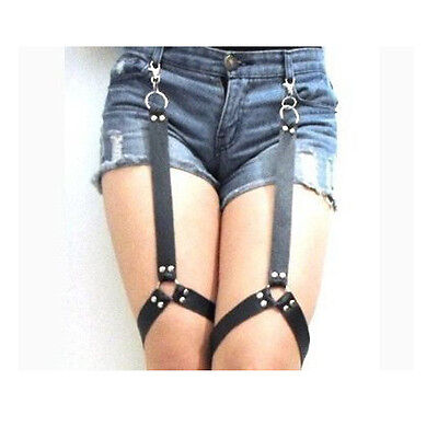 Sexy Handmade Faux Leather Punk Stud O Ring Leg Garter Belt Thigh Garter Hook
