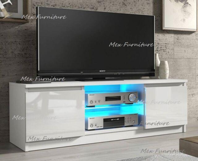 Tv Unit Cabinet Stand White Matt Body High Gloss Front Led Light 160cm