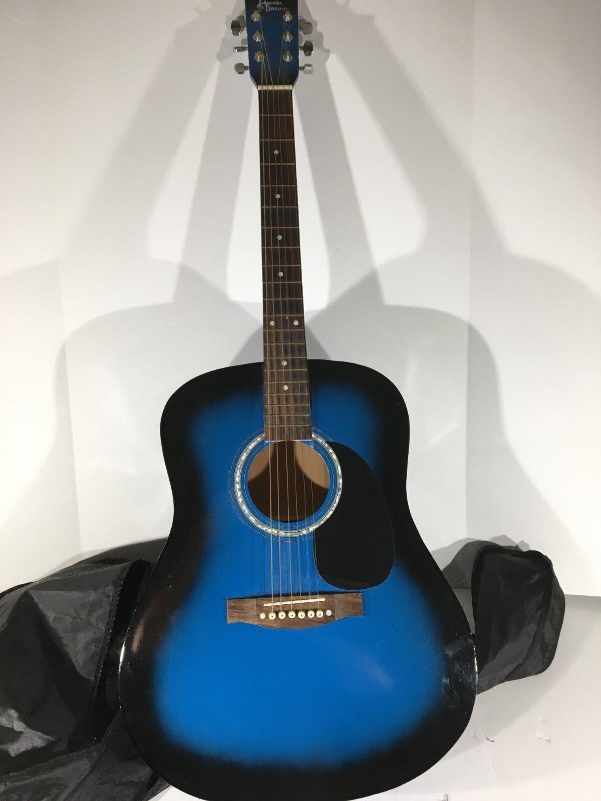 Klassischer Schöne Austin Bazaar Blau & Schwarz Akustische Gitarre mit Tasche