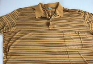Gran Sasso Polo Shirt VTG Eu SZ 54 Striped Fits Mens L/XL Short Italy Made Golf
