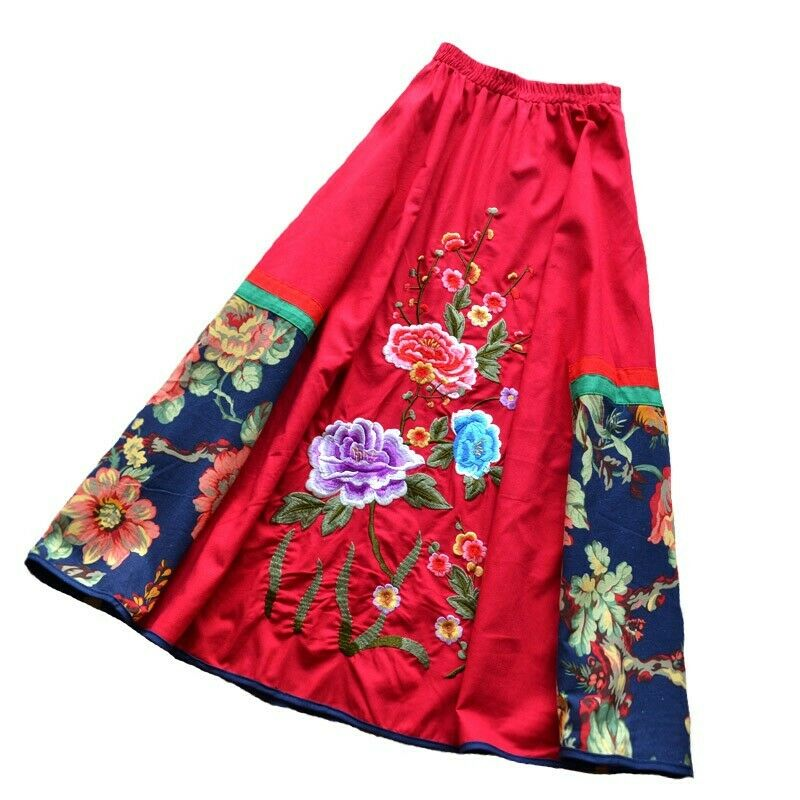 Ethnic Womens Flower Embroidery COTTON LINEN Mid skirt Spring Dresses Retro New