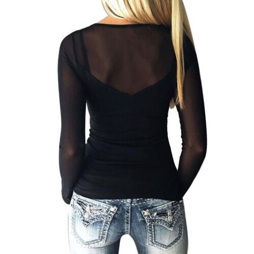 Women Seamless Sheer Long Sleeve Mesh Sweetheart Neckline Blouse Top Shirt S-5XL