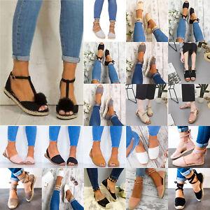 Sandali-da-Donna-Piatto-Peep-Toe-Estate-Scarpe-espadrillers-Cinturino-Sandali-de