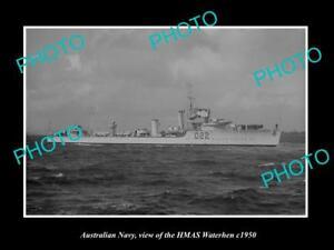 OLD-LARGE-HISTORIC-PHOTO-OF-AUSTRALIAN-NAVY-SHIP-HMAS-WATERHEN-c1950