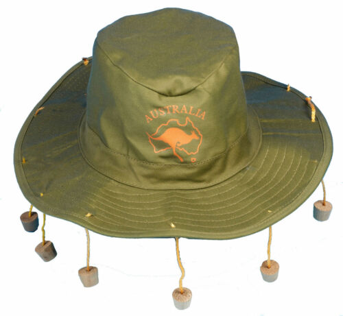 FANCY DRESS AUSSIE AUSTRALIAN HAT WITH CORKS CORK HAT CROCODILE DUNDEE WHOLESALE