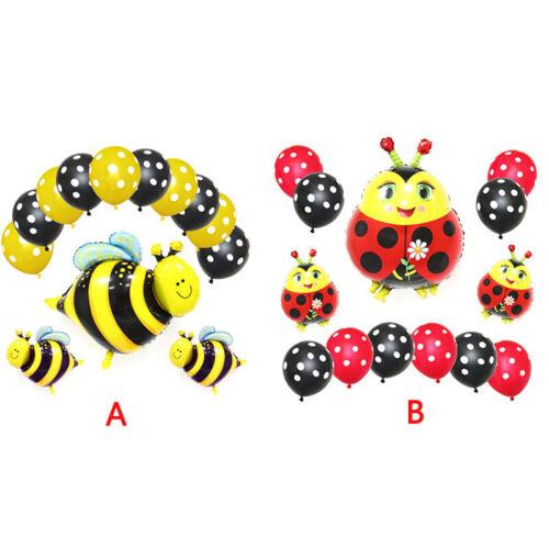 13X Bee Animal Foil Balloons Black Yellow Polka Dot Latex Balloon Party Decor  S
