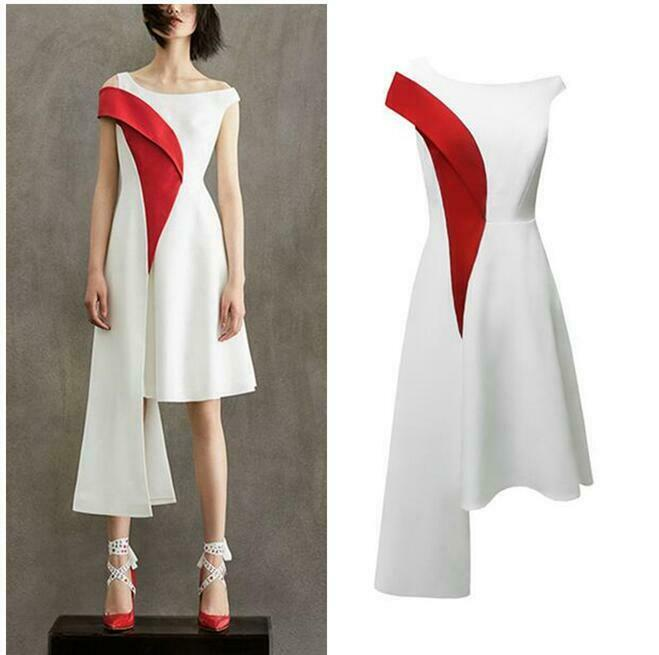 Womens Dress Runway Elegant Occident Slim Fit Irregular Casual Summer Sleeveless