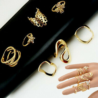 7PCS/Set Crystal Hollow Mid Finger Tip Rings Knuckle Midi Stacking Retro Punk