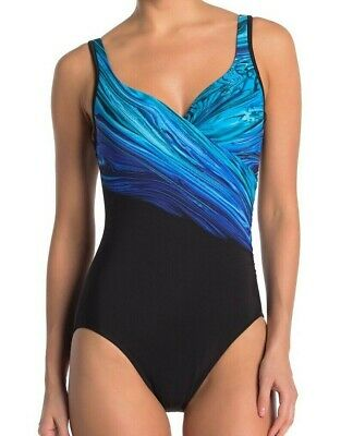 Miraclesuit Womens Blue Pointe Its A Wrap One-Piece