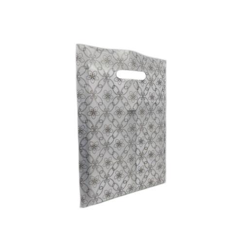 Premium Carrier Bag Die Cut Handle flower design Strong Shopping Plastic Bag
