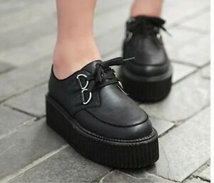 Fashion-New-Women-039-s-Lace-Up-Punk-Goth-Platform-Flat-Creeper-Shoes-2-color