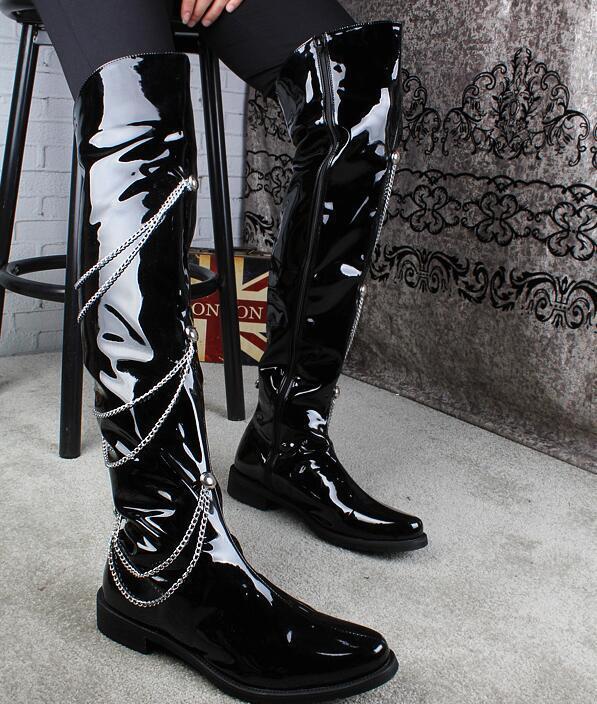 Punk para Hombre de Cuero de rendimiento sobre la rodilla botas metálico Poste Baile botas