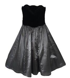 Vintage-Laura-Ashley-Strapless-Ball-Dress-Black-Velvet-amp-Bronze-Taffeta-fit-UK-8