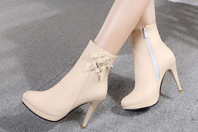Stiefeletten stiefel schuhe elegant frau absatz 9.5 simil leder rosa 9120