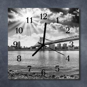 Glass-Wall-Clock-Kitchen-Clocks-30x30-cm-silent-Bridge-Grey