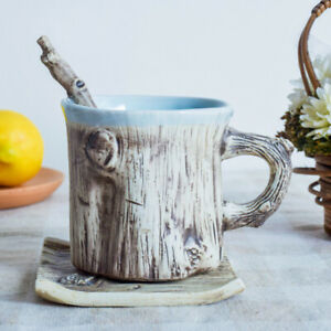 Artistic-Natural-Tree-Bark-Texture-Porcelain-Coffee-Mug-Spoon-set-Milk-Water-Cup