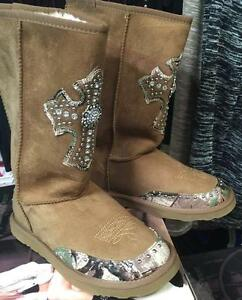 daim cross femme fourrure pour en western doublure Chaussures plates Cowgirl Montana camo Bottes West en qUVpLSzMGj