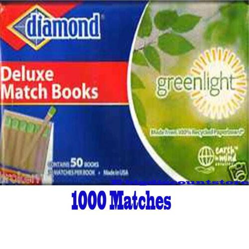 50 Books x 20Matches=1000 DIAMOND Deluxe Matche fireplace kitchen Greenlight USA