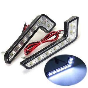 For-Mercedes-Benz-Style-Car-8-LED-DRL-Daytime-Running-White-Front-Fog-Lamp-Light