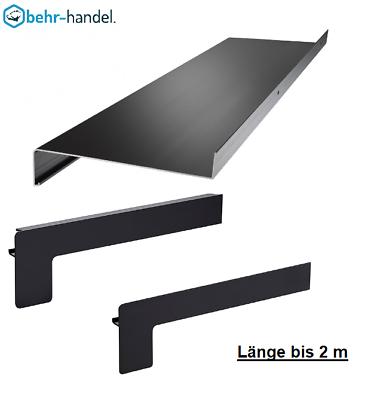 Alu Fensterbank silber E6//C0 bis 2m  Ausladung 50-400 mm  Endstücke Putz//Klinker